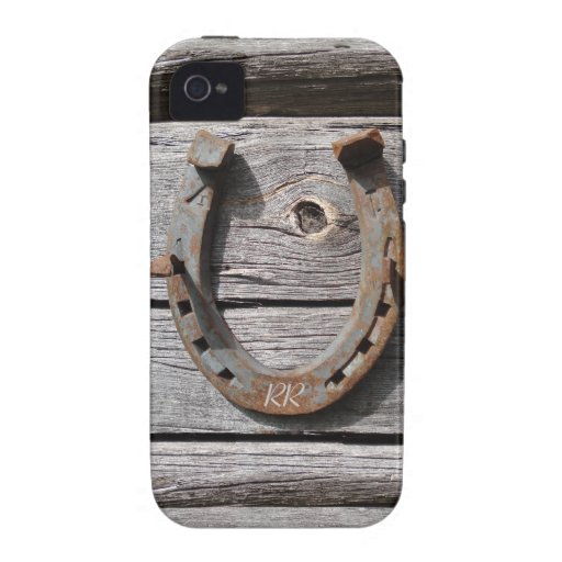 Lucky Horseshoe On Wooden Fence iPhone 4 Tough iPhone 4 Case