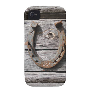 Lucky Horseshoe On Wooden Fence iPhone 4 Tough iPhone 4/4S Cover