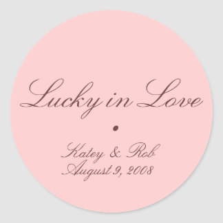 Lucky in Love and Pretty in Pink Round Stickers