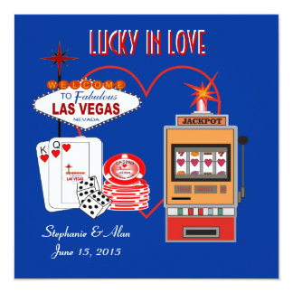 Lucky in Love Blue Wedding Invitation