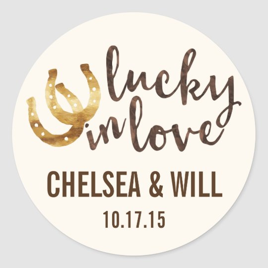 Lucky in Love Horseshoe Personalised Stickers