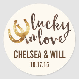 Lucky in Love Horseshoe Personalized Stickers