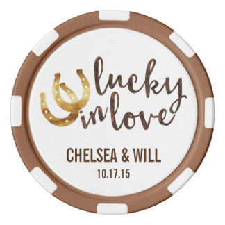 Lucky in Love Horseshoe Wedding Favor Poker Chips