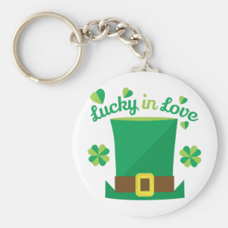 Lucky In Love Basic Round Button Key Ring