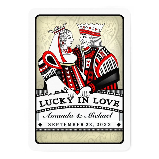 Lucky in Love Playing Cards Wedding Invitation
