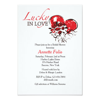 Lucky in Love Red Roses Bridal Shower Invitation