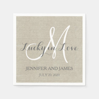 Lucky in Love Rustic Wedding Paper Napkins