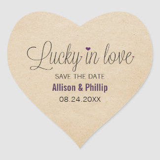 Lucky in Love Save the Date Stickers, Purple Heart Sticker