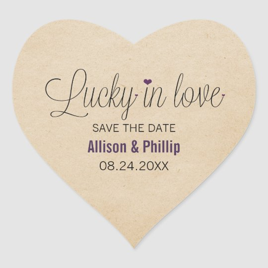 Lucky in Love Save the Date Stickers, Purple