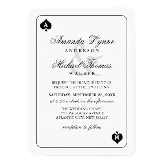 Lucky in Love - Spades Playing Card Wed Invitation