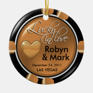 Lucky in Love Vegas Newlyweds Casino Chip Christmas Ornament
