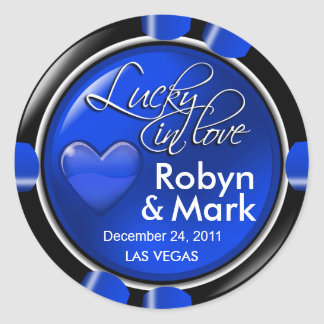 Lucky in Love Vegas Newlyweds Casino Chip Classic Round Sticker
