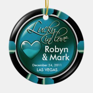Lucky in Love Vegas Newlyweds Casino Chip Round Ceramic Decoration
