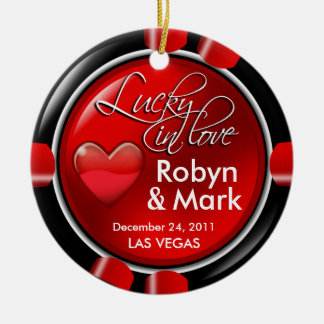 Lucky in Love Vegas Newlyweds Casino Chip Christmas Tree Ornament