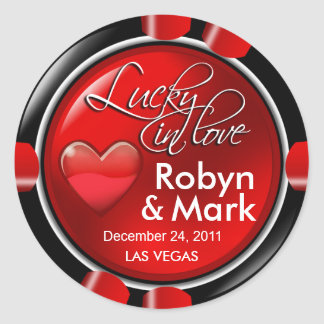 Lucky in Love Vegas Newlyweds Casino Chip Round Sticker