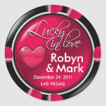 Lucky in Love Vegas Newlyweds Casino Chip Round Stickers
