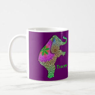 Lucky Indian Elephant in Rainbow Colors Coffee Mug