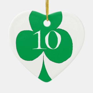 Lucky Irish 10 of Clubs, tony fernandes Ceramic Heart Decoration