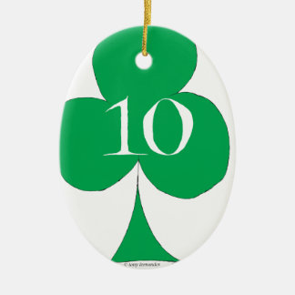 Lucky Irish 10 of Clubs, tony fernandes Ceramic Oval Decoration