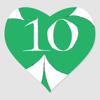 Lucky Irish 10 of Clubs, tony fernandes Heart Sticker