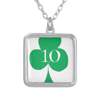 Lucky Irish 10 of Clubs, tony fernandes Silver Plated Necklace