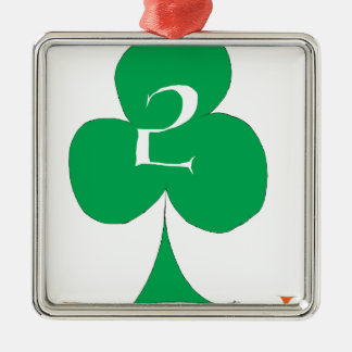 Lucky Irish 2 of Clubs, tony fernandes Silver-Colored Square Decoration