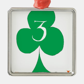 Lucky Irish 3 of Clubs, tony fernandes Silver-Colored Square Decoration