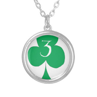 Lucky Irish 3 of Clubs, tony fernandes Silver Plated Necklace