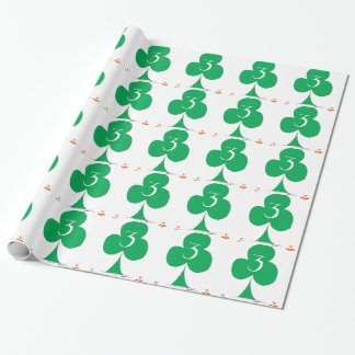 Lucky Irish 3 of Clubs, tony fernandes Wrapping Paper