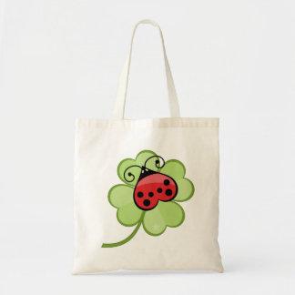 Lucky Irish 4 Leaf Clover and Red Ladybug Ladybird Budget Tote Bag