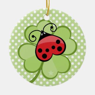 Lucky Irish 4 Leaf Clover and Red Ladybug Ladybird Christmas Ornament