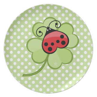 Lucky Irish 4 Leaf Clover and Red Ladybug Ladybird Plate