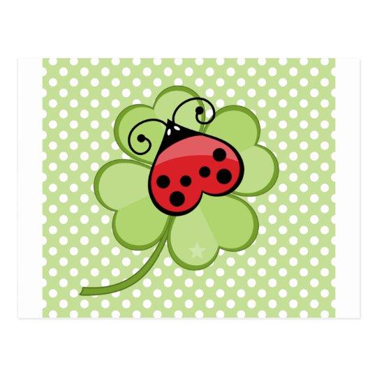 Lucky Irish 4 Leaf Clover and Red Ladybug Ladybird Postcard