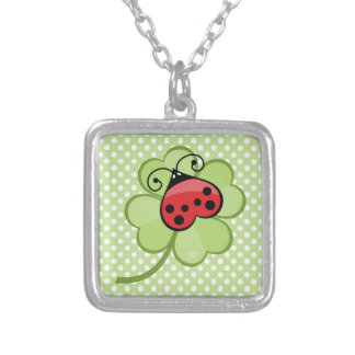Lucky Irish 4 Leaf Clover and Red Ladybug Ladybird Square Pendant Necklace