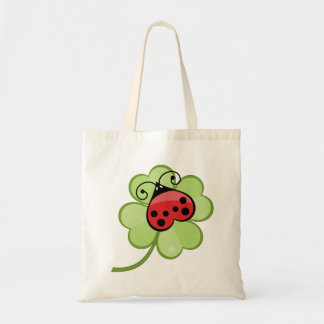 Lucky Irish 4 Leaf Clover and Red Ladybug Ladybird Budget Tote Bag