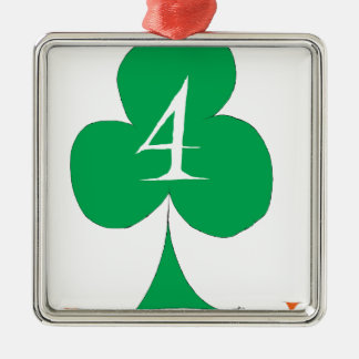Lucky Irish 4 of Clubs, tony fernandes Silver-Colored Square Decoration