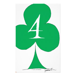 Lucky Irish 4 of Clubs, tony fernandes Stationery Paper