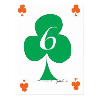 Lucky Irish 6 of Clubs, tony fernandes Postcard