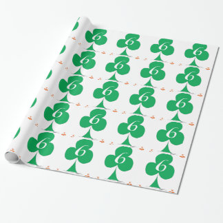 Lucky Irish 6 of Clubs, tony fernandes Wrapping Paper