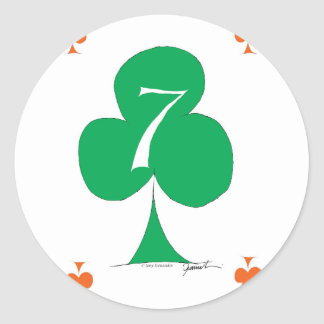Lucky Irish 7 of Clubs, tony fernandes Classic Round Sticker