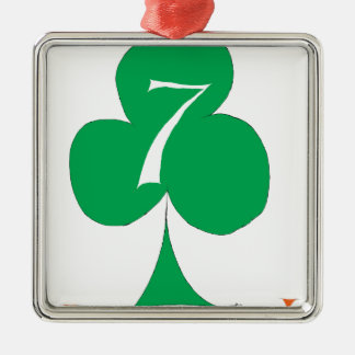 Lucky Irish 7 of Clubs, tony fernandes Silver-Colored Square Decoration