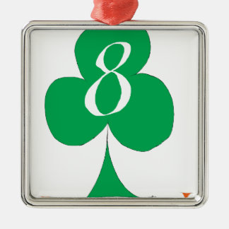Lucky Irish 8 of Clubs, tony fernandes Silver-Colored Square Decoration