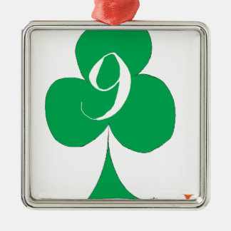 Lucky Irish 9 of Clubs, tony fernandes Silver-Colored Square Decoration