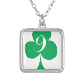 Lucky Irish 9 of Clubs, tony fernandes Silver Plated Necklace