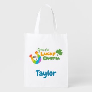 Lucky Irish Clover and horseshoe Reusable Grocery Bag