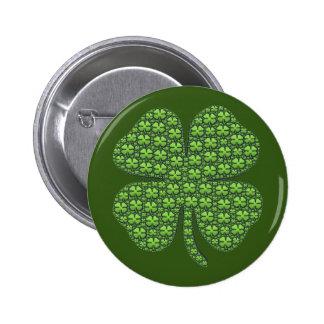 Lucky Irish Clover Dark Green 6 Cm Round Badge