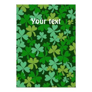 Lucky Irish Green Shamrocks Custom 13 Cm X 18 Cm Invitation Card
