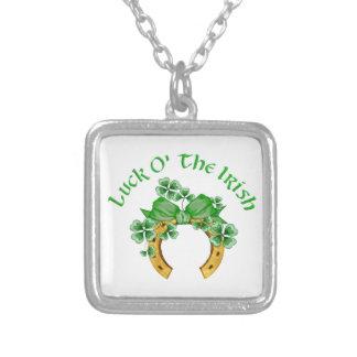 Lucky Irish Horseshoe and Shamrocks Square Pendant Necklace