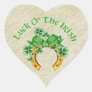 Lucky Irish Horseshoe and Shamrocks Heart Sticker