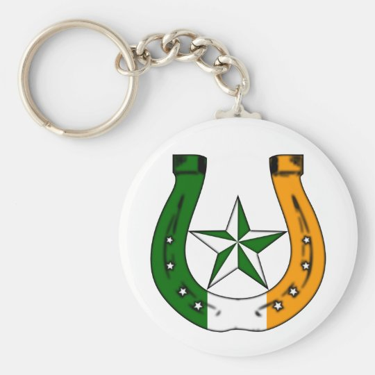 lucky irish horseshoe basic round button key ring